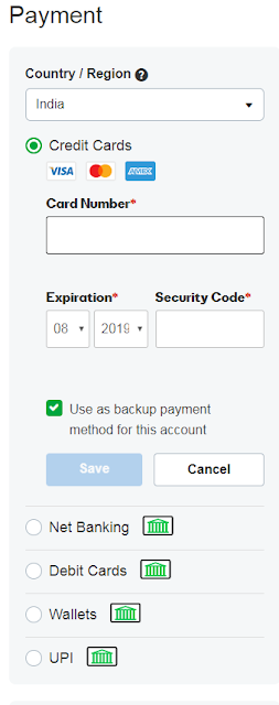 How to add card details in godaddy payments option