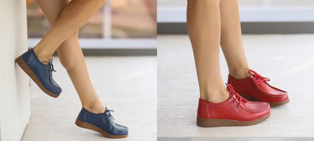 Pantofi casual dama piele naturala ieftini de toamna rosii, bleumarin
