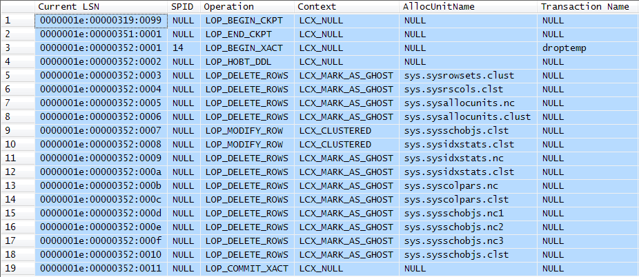 Transaction log entries from asynchronous cleanup