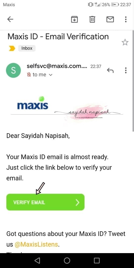 maxis id email verification
