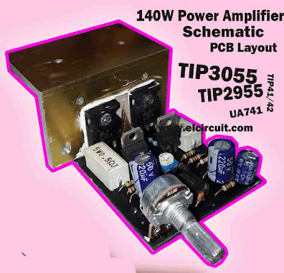 Power Amplifier 140W Circuit TIP2955 TIP3055