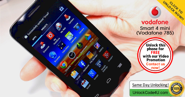 Factory Unlock Code for Alcatel Vodafone Smart 4 Mini (Vodafone 785)