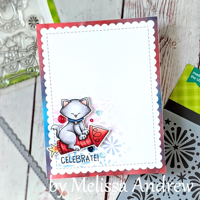 Celebrate! 4th of July card by Guest Designer Melissa Andrew | Newton's 4th of July Stamp Set, Fireworks Stencil and Frames & Flags Die Set by Newton's Nook Designs #newtonsnook #handmade