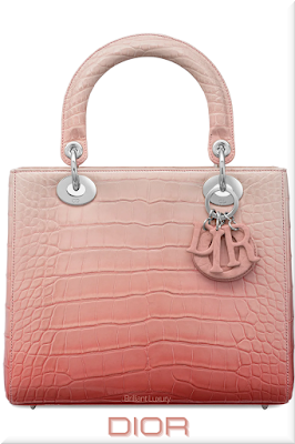♦Dior Lady Dior pink graded top handle lizzard skin bag with colored Dior charms #dior #bags #ladydior #brilliantluxury