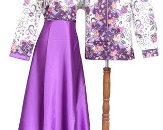 contoh model baju gamis batik kombinasi