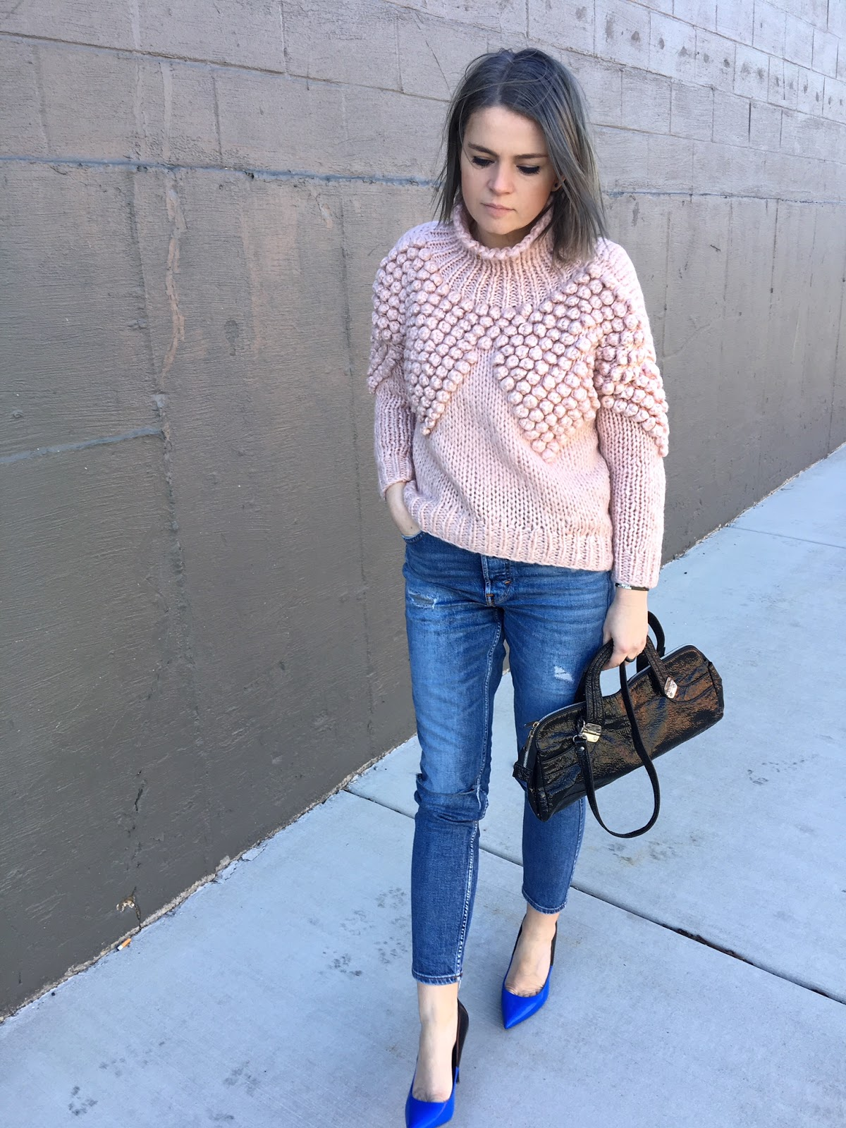 Blue patent leather pumps & Chicwish sweater