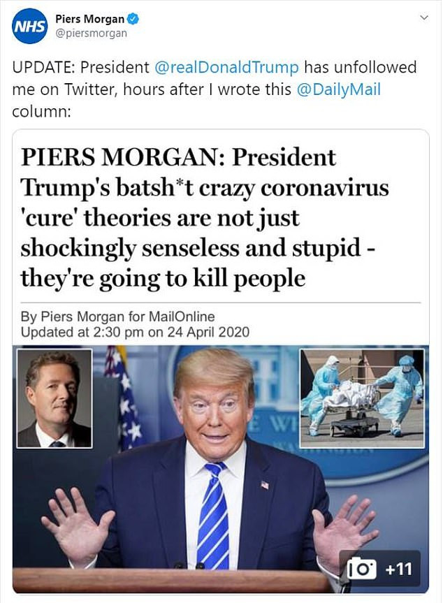 piers morgan and donald trump fight over coronavirus