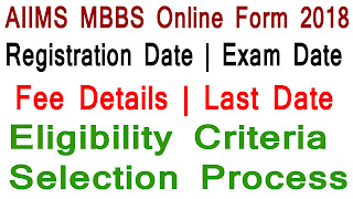 AIIMS MBBS Online Form 2018
