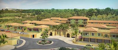 Perspective 3d aérienne promotion logements village