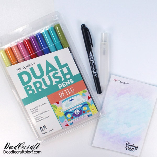 Supplies Needed for Simple Gratitude Journal: Tombow Dual Brush Pens Retro Pack 10-Pack or any colors you love  Tombow MONO Twin Permanent Marker  Glossy photo paper  Tombow Blending Palette and Spray Mister  Binding machine or needle and thread  Copy paper for filler  Paper cutter