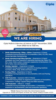 Cipla Limited Pharmaceutical industry Walk-in interview at Indore on 22nd November, 2020 For Various Position