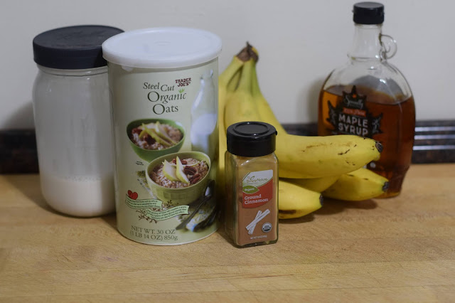 The ingredients needed to make the steel cut oats with the maple glazed bananas.