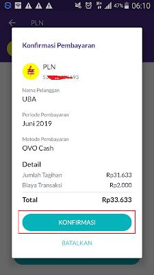 bayar pln dari aplikasi ovo android