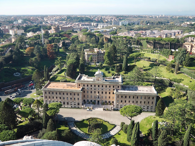 View of Vatican City from St Peter's Basilica, Rome, Italy
