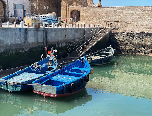 blue fishing boats Essaouira