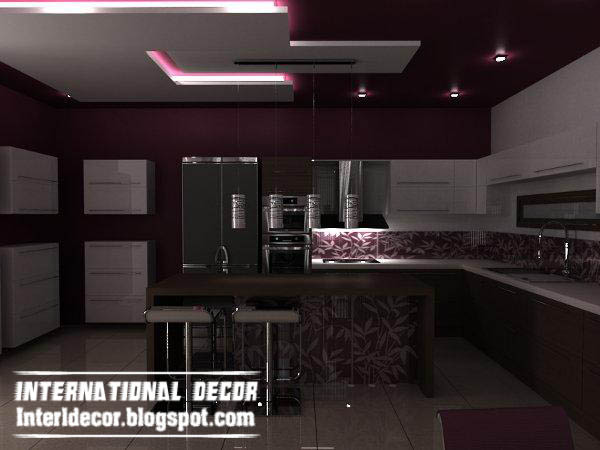 modern suspended ceiling gypsum for kitchen