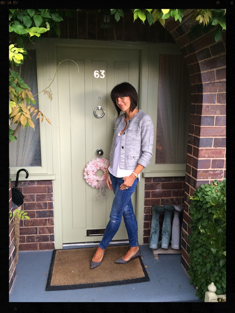 My Midlife Fashion, Boucle, Knitted Jacket, Zara, Skinny Jeans, Court Shoes