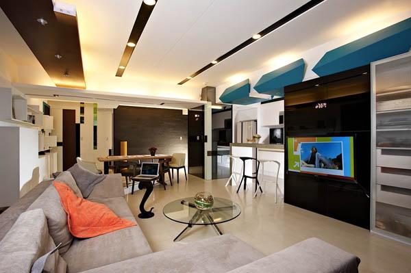 Hogares frescos moderno apartamento para solteros for Diseno de interiores de apartamentos modernos