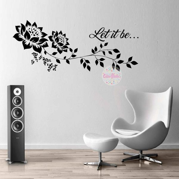 vinilo decorativo pared floral hojas rama frase respaldo