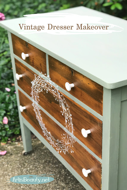 Vintage Dresser makeover with wreath stencilled front using general finishes paint farmhouse style