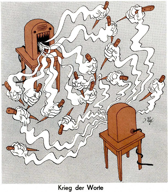 War of Words, Jakob Nef 1940, a cartoon about ugly speach wars on the radio, Krieg der Worte