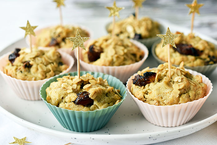 Christmas Breakfast Oatmeal Chai Medjool Date Muffins (Vegan Recipe)