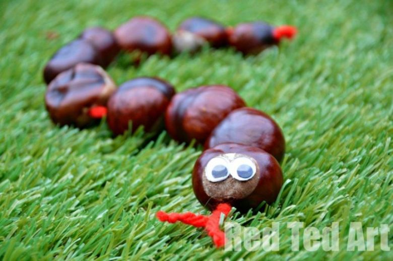 horse chestnut snake autumn craft for kids