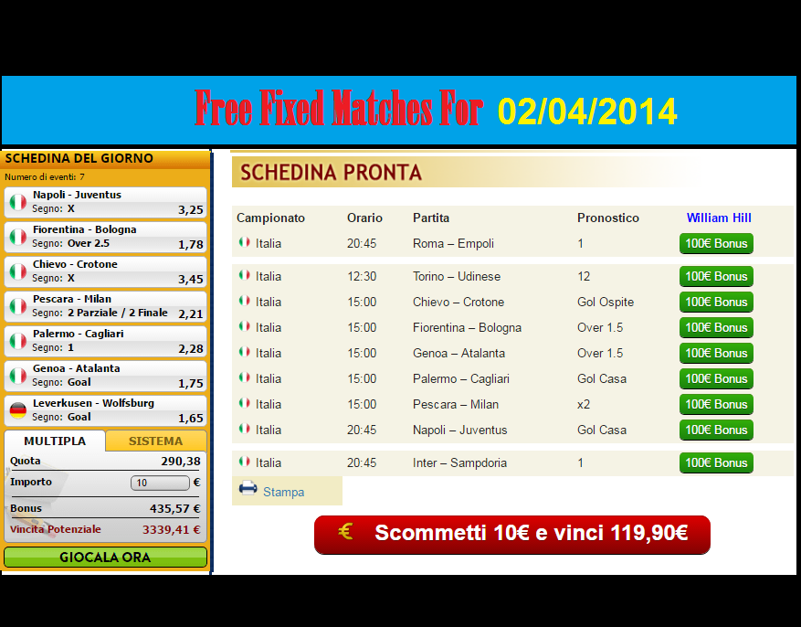 bwin blogger fixed matches today