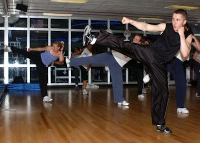 person aerobic kickboxing