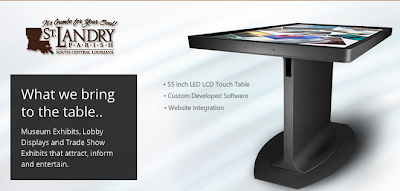 "St. Landry Parish Tourist Commission's Interactive Multi-Touch Interactive Table Exhibit Project: 55"" Pro Multi-Touch Interactive Table w/ a custom interactive exhibit using GestureWorks SDK & Adobe Action Script and integrating the exhibit with their Website & CMS so that the exhibit would be automatically updated whenever the site was changed."