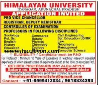 Himalayan University Itanagar Wanted Professors Plus