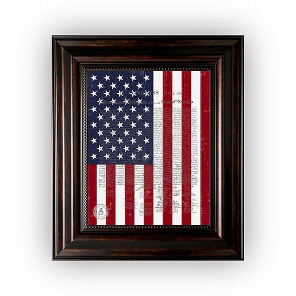 US Flag & US Declaration of Independence in a Medium Brown Frame