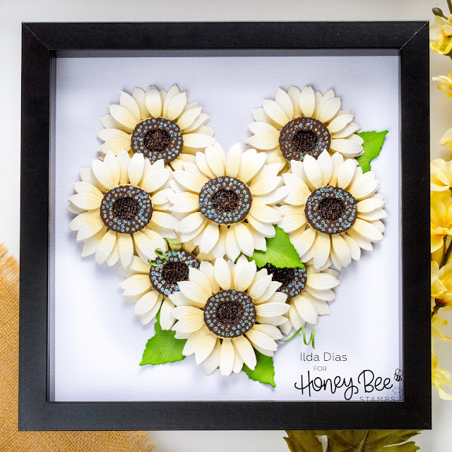 Frame, White Sunflowers, Shadow Box, Honey Bee Stamps,Lovely Layers, how to, gift idea, die cut flowers,ilovedoingallthingscrafty,cardmaker,handmade art