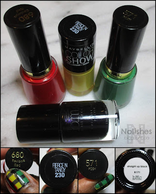 Revlon 'Revlon Red', Maybelline Color Show 'Fierce n Tangy, Revlon 'Posh', and Bundle Monster 'Straight up Black', black stamping polish.