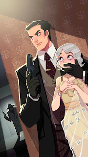 A mafia boss covers Elizabeth's mouth while keeping a look out with a defensive weapon