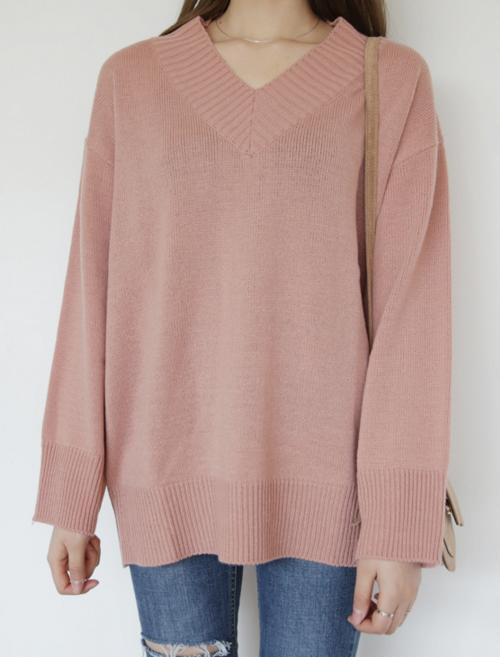 Rib Accent V-Neck Sweater