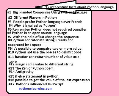 17 interesting facts about python language