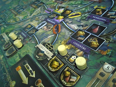 Brass Birmingham partial game map for boardgame