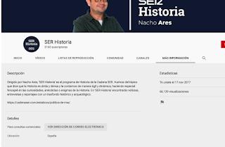 """Visitas acumuladas del canal """"SER Historia"""""""