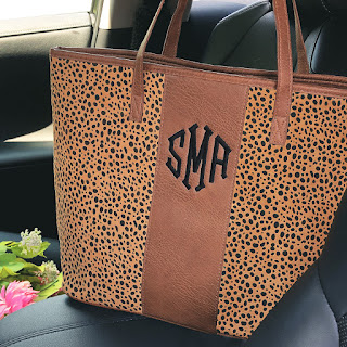 Monogrammed Leopard Tote bag from marleylilly.com