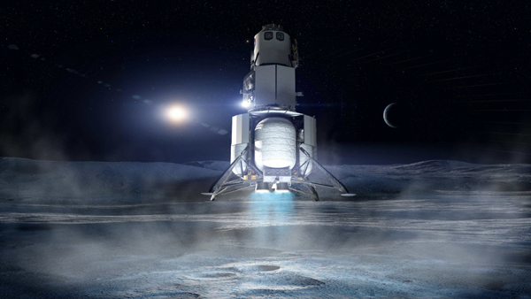 An artist's concept of Blue Origin's Human Landing System about to touch down on the surface of the Moon.