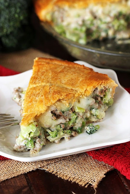Slice of Ground Beef Broccoli Pie with Crescent Roll Crust Image