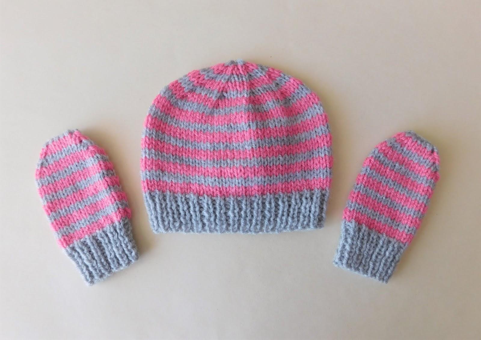 9a7ac38e Marianna's Lazy Daisy Days: Simple Stripes Baby Beanie Hat & Mittens