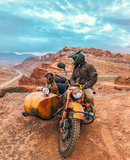 Ural sidecar with Dog co-pilot, Moab, Utah