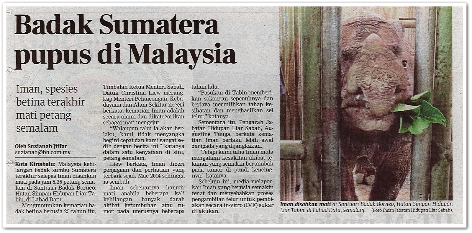 Badak Sumatera pupus di Malaysia - Keratan akhbar Berita Harian 24 November 2019
