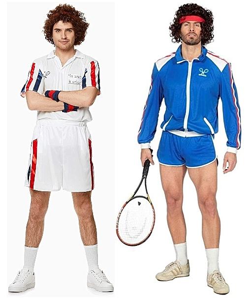 2 Men wearing John McEnroe 80s Tennis Star Costumes