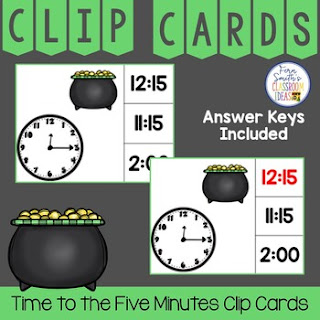 Time to the Five Minutes Clip Cards St. Patrick's Day Themed