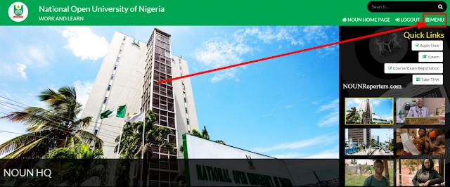 National Open University of Nigeria Portal Home - Drop down menu