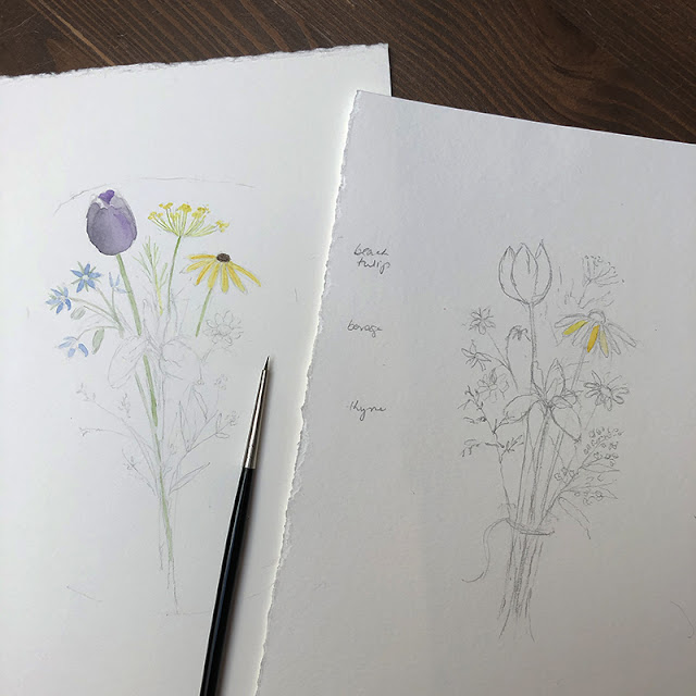 Sketch and preliminary watercolor painting of Flowers for Change bouquet