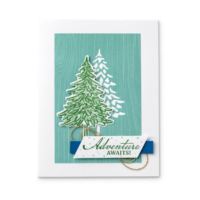 Pine Tree Greeting Card using Stampin' Up! In The Pines Stamp Set